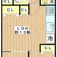 3LDK 専有面積65.24㎡ 全室フローリング